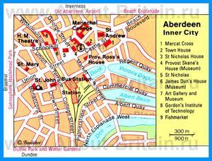 Карта Абердина с достопримечательностями