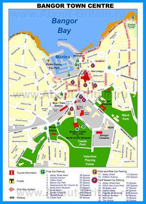 Подробная туристическая карта города Бангор