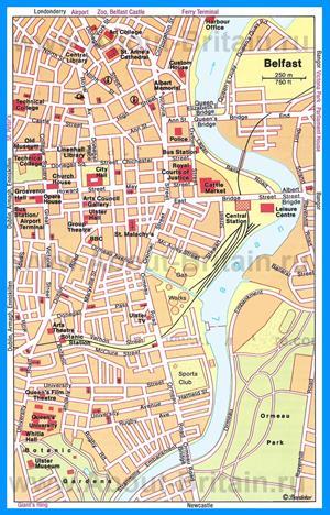 Карта Белфаста с достопримечательностями