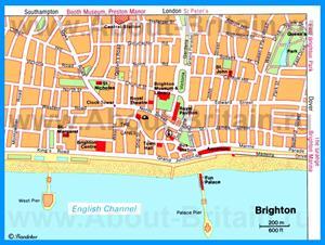 Карта Брайтона с достопримечательностями
