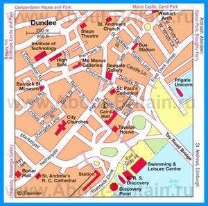 Туристическая карта Данди с достопримечательностями