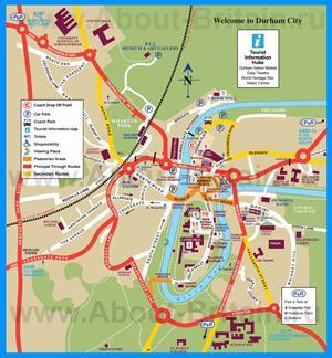 Подробная туристическая карта города Дарем