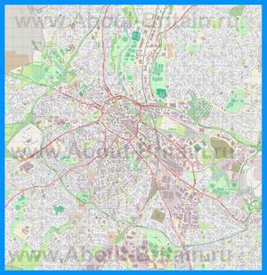 Подробная карта города Дерби