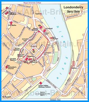 Туристическая карта города Дерри с достопримечательностями