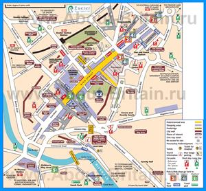 Туристическая карта города Эксетер с отелями