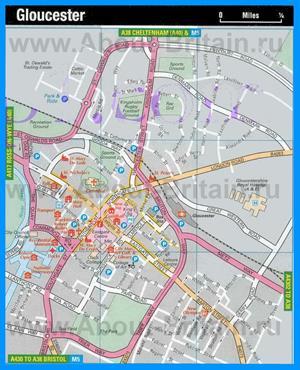 Туристическая карта Глостера с достопримечательностями