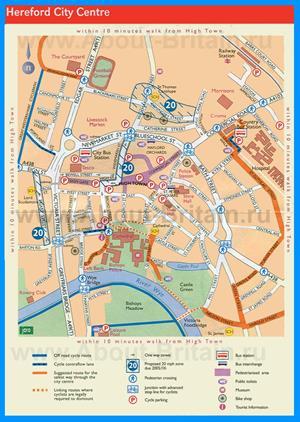 Туристическая карта Херефорда с достопримечательностями