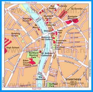Карта Инвернесса с достопримечательностями