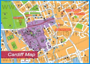 Туристическая карта Кардиффа с достопримечательностями