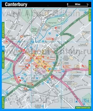 Туристическая карта Кентербери с достопримечательностями