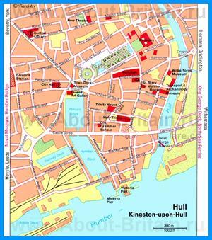 Туристическая карта Кингстон-апон-Халла с достопримечательностями