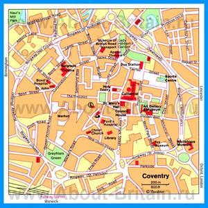 Карта Ковентри с достопримечательностями
