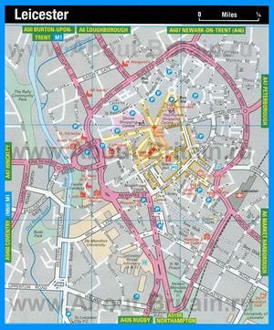 Туристическая карта Лестера с достопримечательностями
