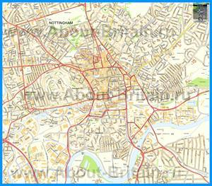 Подробная карта города Ноттингем