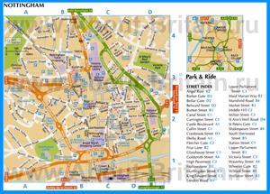 Туристическая карта Ноттингема с достопримечательностями