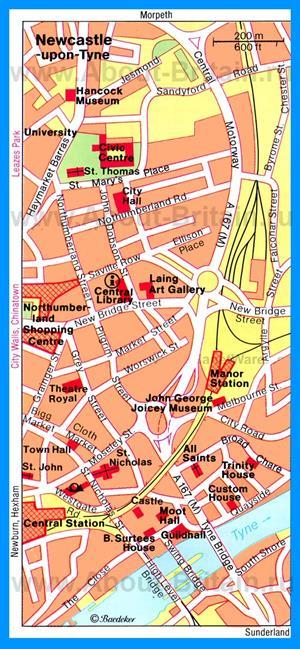 Карта Ньюкасла-апон-Тайн с достопримечательностями