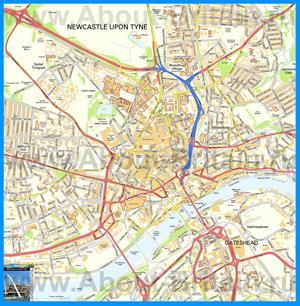Подробная карта города Ньюкасл-апон-Тайн