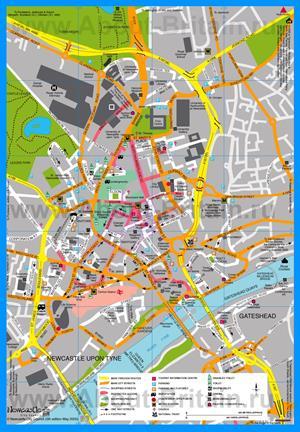 Туристическая карта Ньюкасла-апон-Тайн
