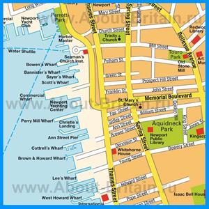 Карта города Ньюпорт с достопримечательностями