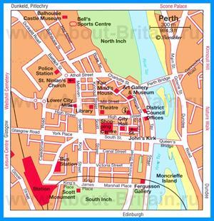 Карта Перта с достопримечательностями