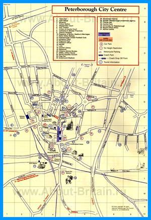 Туристическая карта Питерборо с достопримечательностями