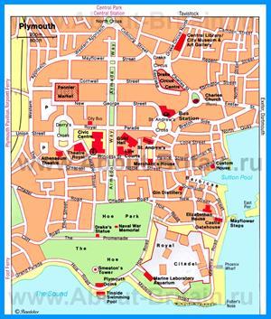 Туристическая карта Плимута с достопримечательностями