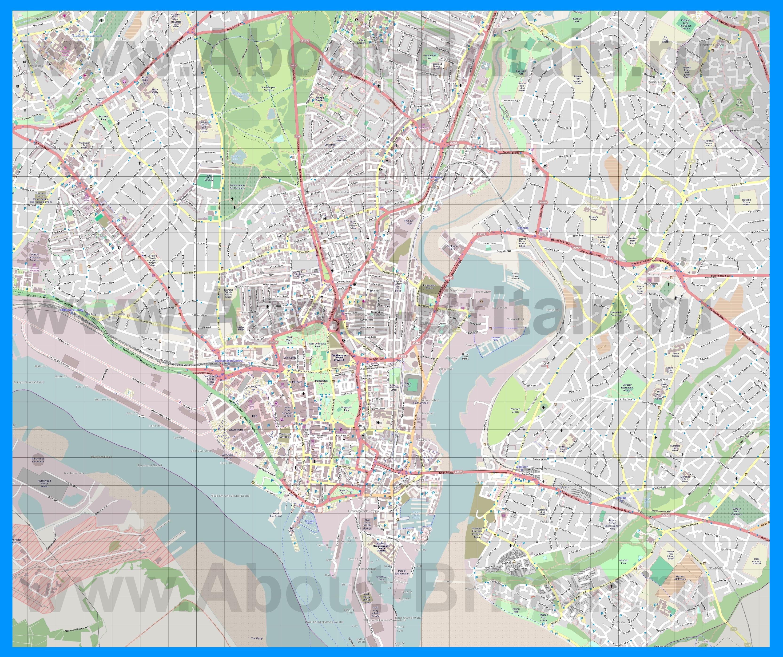 Подробная карта города саутгемптон