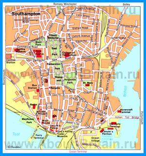 Туристическая карта Саутгемптона с достопримечательностями