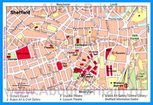 Карта Шеффилда с достопримечательностями
