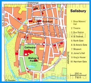 Карта Солсбери с достопримечательностями