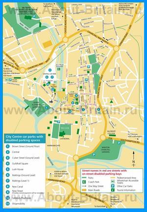 Подробная туристическая карта города Солсбери