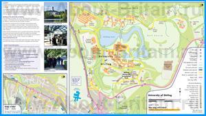 Подробная карта университета Стерлинга