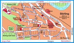 Туристическая карта Стерлинга с достопримечательностями