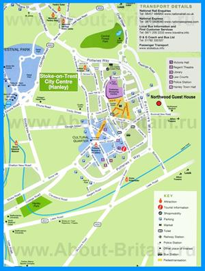 Туристическая карта Сток-он-Трента