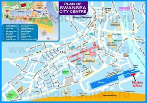 Туристическая карта Суонси с достопримечательностями
