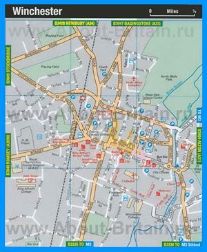 Туристическая карта Уинчестера с достопримечательностями