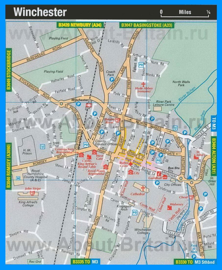 Туристическая карта уинчестера с