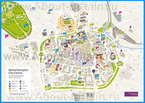 Туристическая карта Вулверхэмптона с отелями и достопримечательностями