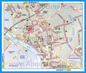 Карта города Вустер с достопримечательностями