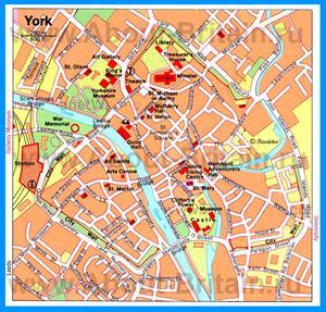Туристическая карта Йорка с достопримечательностями