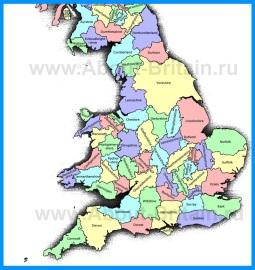 Карта Англии с графствами