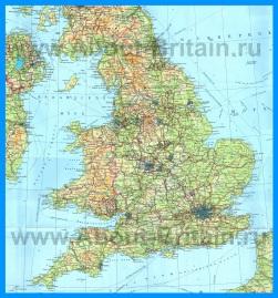 Подробная карта Англии на русском языке с городами