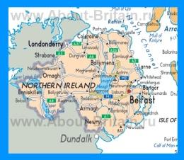 Карта Северной Ирландии с городами