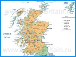 Карта Шотландии с городами