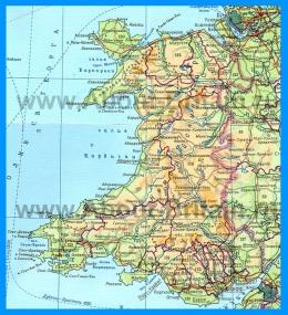 Подробная карта Уэльса на русском языке