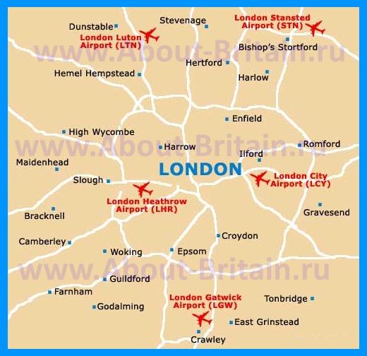 Аэропорты Лондона на карте