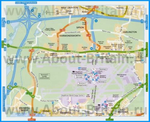 Аэропорт Хитроу на карте