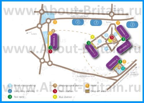 Схема расположения терминалов Хитроу