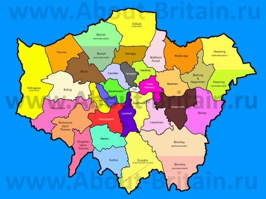 Карта лондонских боро
