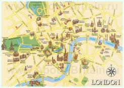 Карта центра города Лондон с достопримечательностями